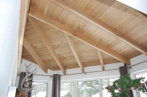 Detail houten balkenconstructie serre